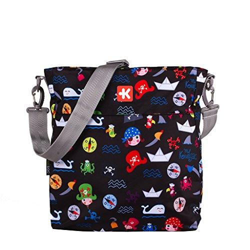 Kiwisac Happy Trip Bolso de Silla de Paseo Unisex con un Diseño Basado de Piratas/Bolso para Carro Bebé para Pañales con Bandolera Ajustable, Color Negro