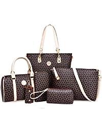 H&X Six-piece Bone Pattern Bag For Women Handbag+shoulder Bag+messenger Bag+crossbody Bag+wallet+keybag