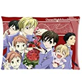 Custom Ouran High School Host Club Anime Manga Japan Soft Zippered Pillowcases Pillow Case Cover Standard Size 16x24 Inch Two Sides Print