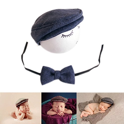 Neugeborene Baby Fotografie Requisiten Boy Girl Crochet Kostüm Outfits Hut Krawatte (Dark Blue) (Best Boy Kostüme)