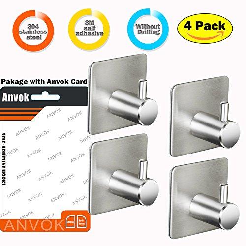 Anvok Ganchos Toalleros Adhesivos 4 Piezas Colgador llaves Acero Inoxidable Puerta Gancho Ropa Pared para Cocina Baño WC Oficina, Gancho Adhesivo 3M
