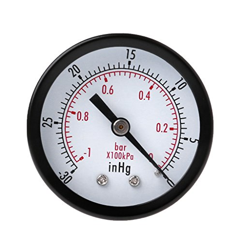 Qiman Mini Air Vakuum Manometer 50mm Druckmesser -1bar-30inHg 1/4