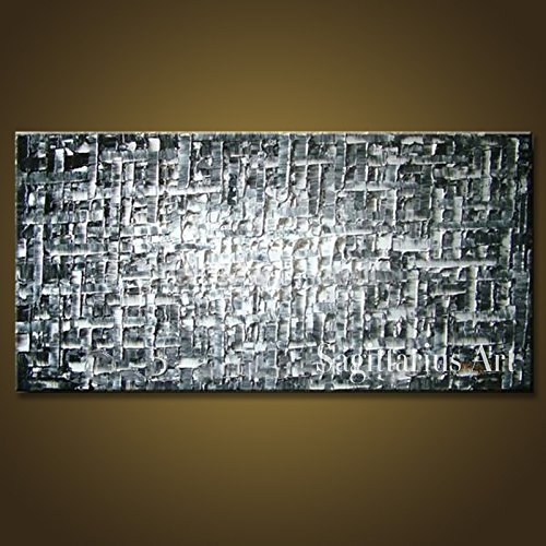 HANDBEMALT Landschaft abstrakt Palette Dick Messer Ölgemälde Silber Grau Wall Home Living Room Art, canvas, grau / silber, 24x48inch(60x120cm)