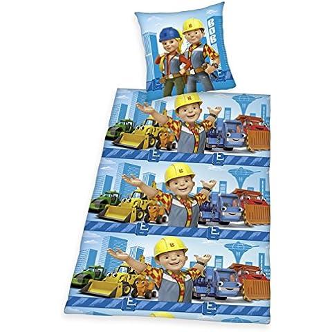 Herding–Biancheria da letto per bambini Bob aggiustatutto, in flanella, colore: blu/giallo, Cotone, blau, 135 x 200 cm + 80 x 80 cm - Giallo Flanella