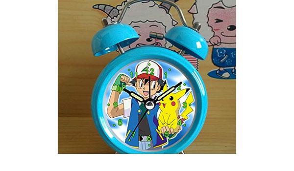 W-JIUJIA Pokemon Kinderuhr Pikachu Wecker Cartoon Kinder Spezielle kreative Pers/önlichkeit Lazy Animation Student Bedsid Tuile Pokemon