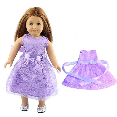HKFV Hochwertiger Spitzenrock für 18 Zoll Unsere Generation American Girl Doll 18-Zoll-American Girl Puppe Kleid Spitze Rock Lace skirt (Lila) (American Girl Puppe Grace Kleider)