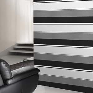 Vogue |Black, White & Grey striped wallpaper
