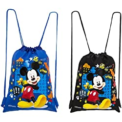 Disney Gosh Mickey Mouse Drawstring Backpacks 2 Pack Blue & Black