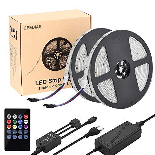 LED Stripes RGB Streifen 10 m Musik Licht Fernbedienung 5050 SMD 300 LEDer Trafo 12V 5A selbstklebend dimmbar verlängerbar schneidbar Band mit Gedächtnis Funktion Innen außen Hintergrund Beleuchtung komplettset, mit dickem gummierte Schutzschicht über den LED, inkl. Musiksteuerung-Modus