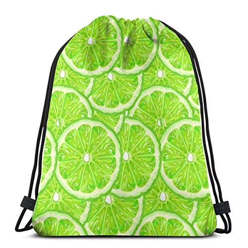 best gift Lime Green Pattern Drawstring Bag Backpack Travel Gymsack Drawstring Backpack Sackpack 16.9x14 inch -