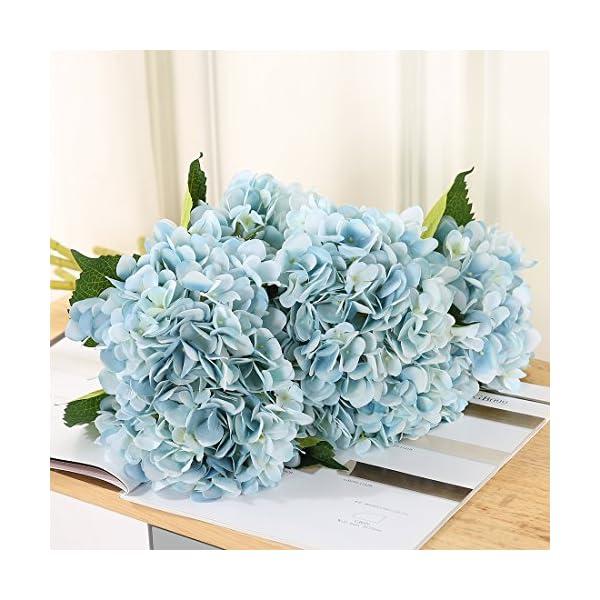 justoyou 4 flores artificiales, tallo individual, flores de seda, Hortensias, ramos artificiales de flores para boda…