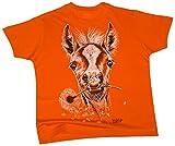 Fohlen Kinder T-Shirt Pferde-Motiv in orange - wildlife-shirts - Größe 152