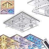 Eckige LED Deckenleuchte Kruishouten – Deckenlampe Halogen– LED Lampe aus Metall in Chrom – Mit Fernbedienung um die blauen LEDs und die Halogenlampen beliebig anzusteuern – Licht in versch. Farben