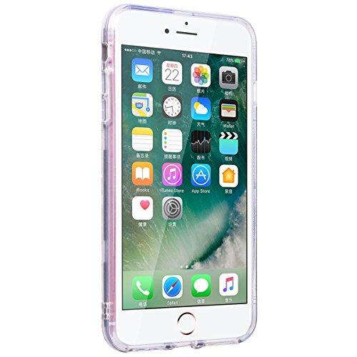 SMART LEGEND iPhone 7 Weiche Silikon Bumper & PC Hart Rückseite Hülle Glitzer Schutzhülle 2 in 1 Transparent Hülle mit Bling Muster Handyhülle Crystal Kirstall Clear Etui Ultra Slim Design Glatt Durch Gold