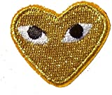Comme des Garcons (Gold Yellow) CDG Play Emo Iron on Sew on Embroidered Badge Applique Motif Patch From PatchWOW