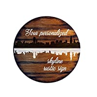 Personalised City Skylines decor sign | Rustic decor | Inspired by aged barrel tops | Hand-painted city theme of your choosing and your quote on a distressed wood sign