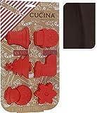 6 teiliges Set aus 3D SILIKON Backformen / Kuchenformen für die Weihnachtsbäckerei in ROT - sichere Handhabung für Kinder und leicht sauber zu halten - sehr widerstandsfähig - spülmaschinenfest - hitzebeständig - Antihaftbeschichtung - Formenset für Kuchen Cupcakes Muffins - schöne Formen für Winter Advent und Weihnachten - Neu aus dem KAMACA-SHOP