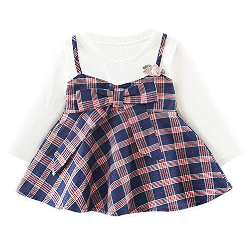 cinnamou Kind-Baby-Mädchen-Lange Hülsenstreifen-Bogen-Partei-Prinzessin Dress Tops,Cosplay Geburtstag Kleid Party Kleidung