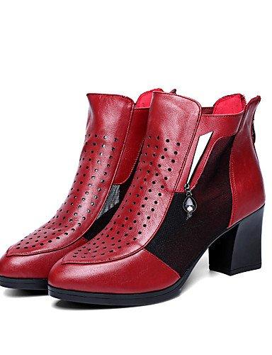 GS~LY Da donna-Tacchi-Ufficio e lavoro / Formale-Tacchi-Quadrato-Di pelle-Nero / Borgogna burgundy-us7.5 / eu38 / uk5.5 / cn38