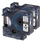 Dymo Ruban,2x D1 45010 compatibl DYMO D1 12mm, Noir sur Transparent, Cartouche pour DYMO LabelManager LM160 LM210D LM260P LM280 LM360D LM420P,12mm x 7m