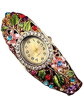 SODIAL(R) Damen Mode Blume Kristall Armreif Armband Quarz Edelstahl Uhr Armbanduhr Farb