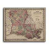 Enid18Bru Vintage Louisiana Mapa 1869 reproducción Antiguo New Orleans impresión Estado Mapas de Madera Placa de Estado Placa de Pared Placa Signos de decoración