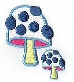 Patch Cube Psilocybin Mushroom applique brodé de fer sur les patchs avec des patchs petit Smiley jaune par PATCH CUBE par patch cube