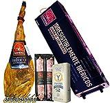 Cesto di Natale, 1 Navidul composto da 7-7,5 kg prosciutto iberico, 1 bottiglia di vino Rioja Gomez de Segura, 1 e 1 chorizo iberico 250 gr. 1 Can 500ml di olio Chinata.