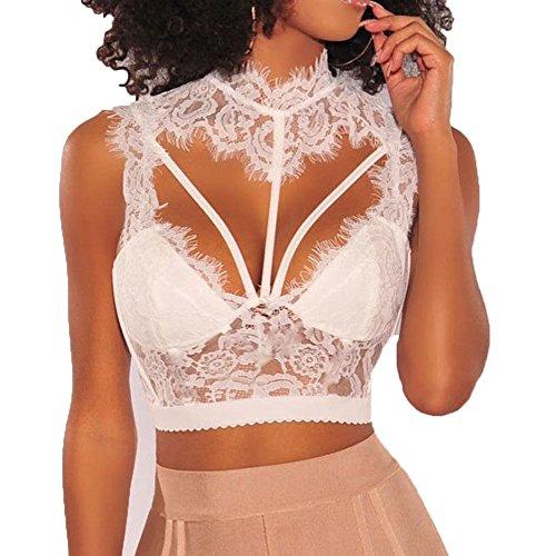 Womens Lace Mock Neck Cage V-Ausschnitt Crop Top Bralette Upadded BH Unterwäsche (Weiß, M)