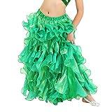YuanDian Fille Taille élastique Couleur Unie Danse Du Ventre Jupe Haute Fente longue Jupe Enfant Orientale Danse Costume
