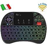 Rii Mini X8 Wireless (Layout Italiano) - Mini Tastiera retroilluminata con Mouse touchpad e rotellina di Scorrimento per Smart TV, TV Box, Mini PC, Computer, Console