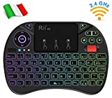 Rii Mini X8 Wireless (Layout Italiano) - Mini Tastiera retroilluminata con Mouse touchpad e rotellina di...