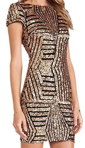 Donna Slim Fit Vestito Matita Paillettes Maniche Lunghe Rotondo Collo Pacchetto Abito Hip Bodycon Dress Mini Vestito da Sera Cocktail Z Manica Corta Oro