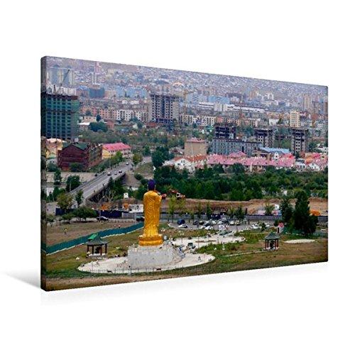 Premium Textil-Leinwand 90 cm x 60 cm quer, Buddha-Statue in Ulan-Bator   Wandbild, Bild auf Keilrahmen, Fertigbild auf echter Leinwand, Leinwanddruck: Hauptstadt der Mongolei (CALVENDO Orte)
