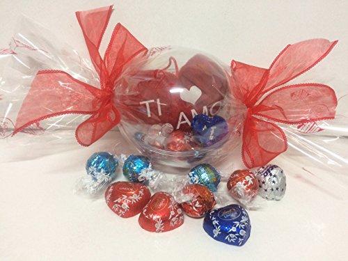 Composizione artigianale san valentino boule trasparente caramella con cioccolatini assortiti lindt