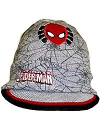 Spiderman Strickmütze - Beanie - Schirmmütze mit Applikation grau