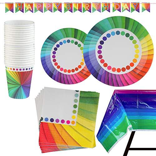 Kompanion 82 Stück Rainbow Party Set inklusive Banner, Teller, Becher, Servietten und Tischdecke, für 20 Personen