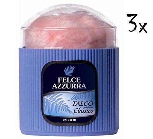 3 x Paglieri Felce Azzurra Classico Poudre corps avec éponge 250 g