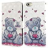 Ailisi Cover iPhone 6/6S, 3D Flip Cover Cartoon Cute Love Heart Teddy Bear Custodia Protettiva Caso Libro Pelle PU con Portafoglio, Funzione Supporto, Chiusura Magnetica