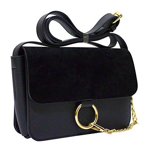 Kronya® | Elegante Umhängetasche aus Leder | Arbeit Büro Clutch Crossbody Damen Damentasche Damenhandtasche Frauen Freizeit Gurt Handtasche Rucksack Schule Schultasche Schultertasche Tasche (Schwarz)
