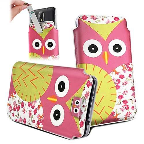 Handytasche / Handyhülle in unterschiedlichen Größen für viele Handys z.B. Samsung Galaxy S7 S6 S5 S4, iPhone 7 6s 6, LG G5 G4 G3, Sony Xperia Z6 Z5 Z4 Z3 & viele weitere Hersteller. Exklusives Design Pink grüne Eule