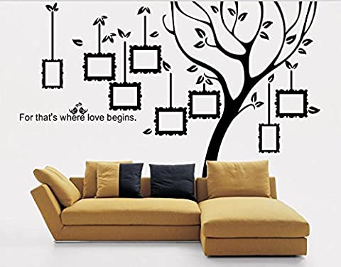 Grand arbre famille cadre photo stickers muraux pour salon sticker mural Art Citations Stickers muraux Stickers Art w216 cm * * * * * * * * H163 cm