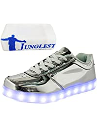 (Present:kleines Handtuch)Silber EU 28, leuchten Schuhe Klettverschluss Luminous Kinder JUNGLEST®