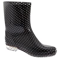 Universal Textiles Womens/Ladies Short Polka Dot Print PVC Wellington Boots