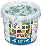 RAYHER Glas Mosaiksteine 1x1cm, Eimer 1kg, (ca. 1300 Stück), Grün-Töne