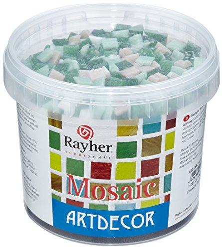 Rayher Hobby tesselles mosaïque – mosaïques verre – seau de 1300 pièces de mosaïque miroir – 1x1 cm pour une surface de 35x40 cm – vert