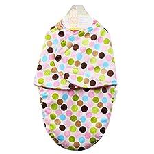 Happy Cherry Baby Casual Swaddle Säugling Unisex Schlafsack Ganzkörper kurze Plüsch Süß Musterdruck (Bunt Punkt) Infant Swaddle Neugeborene Decke Für Schlaf Geeigenet für 0-6 Monate