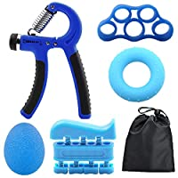 Benkeg 6 PCS Hand Grip Strengthener Kit with Storage Pouch Hand Finger Exerciser 5 Finger Stretcher Adjustable Hand Gripper Hand Therapy Ball Grip Exercise Ring