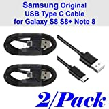 Two (2) OEM Samsung Original USB-C Data Charging Cables for Galaxy S8/S8+ - Black EP-DG950CBE- Bulk Packaging (2 Pack)