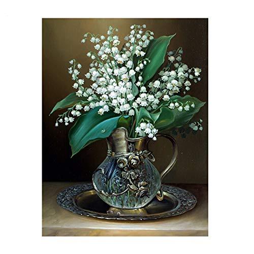 SiJXZSH 5D Weiß Russland Blume Diamant Malerei Für Wohnzimmer Kreuzstich Diy Diamant Mosaik Beliebte Handgemachte Handwerke,45x60cm